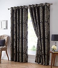 DE CAMA EYELET RING TOP LINED CURTAINS CHARCOAL &