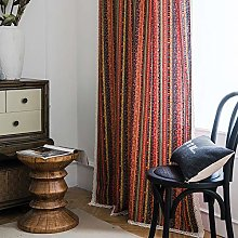 DEAR-JY Curtain,1 panels,Striped print orange