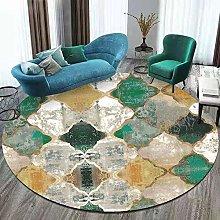 DEAR-JY Round Carpet,Retro Emerald Green Yellow