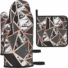 Decams 3PCS Oven Gloves Heat Resistance Oven Mitts