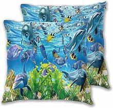 DECISAIYA Cushion Covers 50x50cm Pack of 2,Ocean