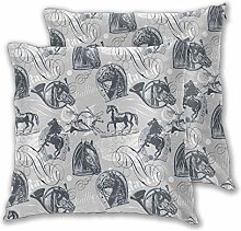 DECISAIYA Throw Pillow Covers Pack of 2,Gray Horse