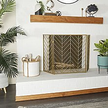 Deco 79 Tall Silver & Gold Decorative Fireplace