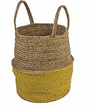 Deco&Co AL23159 Jute Basket, Natural/Yellow, One