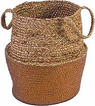Deco&Co AL23160 Jute Basket, Natural/Copper, One