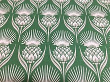 Deco Thistle Pea Green Cotton 140cm Curtain Fabric