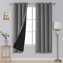 Deconovo Blackout Curtain with Eyelets Linen Look
