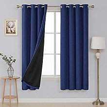 Deconovo Faux Linen Eyelet Blackout Curtains