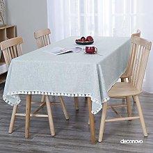 Deconovo Faux Linen Tablecloth Tassel Lace