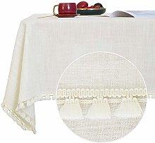 Deconovo Faux Linen Tablecloths Water Resistant