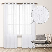 Deconovo Modern Net Curtain with Eyelets for