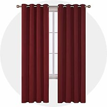 Deconovo Opaque Curtain with Eyelets Red 229 x 140