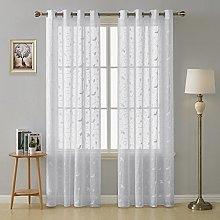 Deconovo Sheer Curtains Drapes Flower Faux Linen