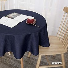 Deconovo Super Faux Linen Tablecloth Round