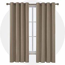Deconovo Thermal Eyelet Curtain Taupe 183 x 140 cm
