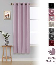 Deconovo Thermal Insulated Eyelet Blackout Curtain Nursery One Panel, Light Pink, 46 x 72 Inch