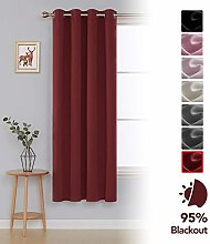 Deconovo Thermal Insulated Eyelet Blackout Curtain Nursery One Panel, Red, 46 x 72 Inch
