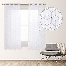 Deconovo Translucent Net Curtain with Eyelets for