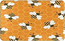 Decorative Bathroom Floor Rug,Bee With Honey,Soft