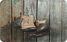 Decorative Bathroom Floor Rug,Brown Old Boxing