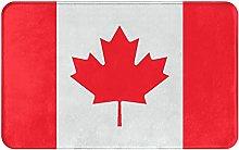Decorative Bathroom Floor Rug,Flag Of Canada With