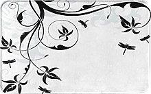 Decorative Bathroom Floor Rug,Loral With Dragonfly