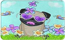 Decorative Bathroom Floor Rug,Pug Dog With Flowers