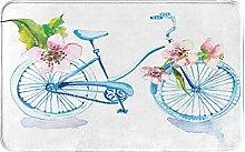 Decorative Bathroom Floor Rug,Watercolor Bicycle