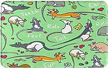 Decorative Bathroom Floor Rug,With Fancy Rat,Soft