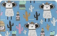 Decorative Bathroom Floor Rug,With Llama, Cactus