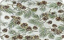 Decorative Bathroom Floor Rug,With Pine Cones,Soft