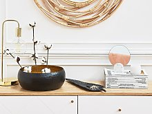 Decorative Bowl Black and Gold Metal Round