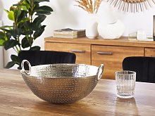 Decorative Bowl Silver Metal Round with Handles Modern Living Room Glamour Decor Piece
