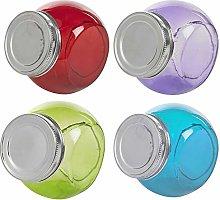 Decorative Coloured Glass Cookie Candy Jar Kitchen