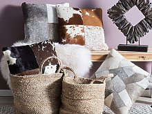 Decorative Cushion Grey Cowhide Leather Patchwork