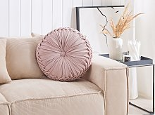 Decorative Cushion Pink Fabric with Pleats Round