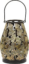 Decorative Gold Metal Lantern with Candle Holder
