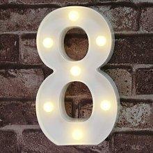 Decorative Led Light Up Number Letters, White