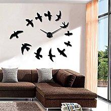 Decorative Mirror Wall Clocks Flying Birds Wall