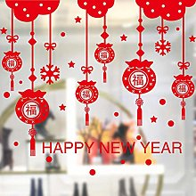 Decorative New Year Stickers New Year Glass Door