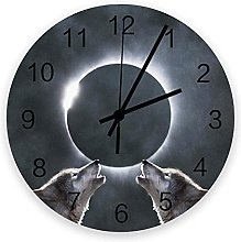 Decorative Round Wall Clock Animal Gray Wolf with