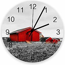 Decorative Round Wall Clock Gray Lawn with Red