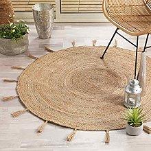 Decorative Rug Round (0) 120 cm Jute Plain + Lurex