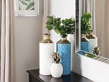 Decorative Table Vase Blue with Gold Ceramic 39 cm