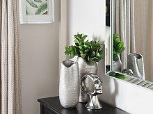 Decorative Table Vase Silver Ceramic 33 cm Glam