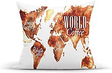 Decorative Throw Pillow Cover Case,Continents