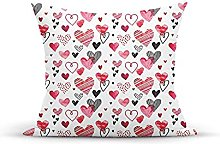 Decorative Throw Pillow Cover Case,Doodle Hearts