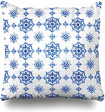 Decorative Throw Pillow Cover Tile Navy Pattern