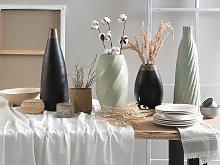 Decorative Vase Black with Gold Ceramic 32 cm