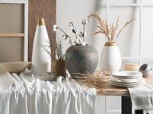 Decorative Vase White with Gold Ceramic 32 cm